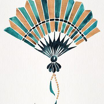 Folding Fan – Teal & Gold Palette by catcoq