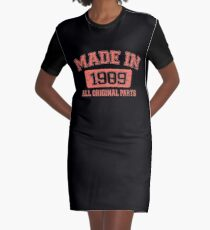 Vintage 30th Birthday Gifts Born in 1989 All Original Parts Funny Shirt Graphic T-Shirt Dress