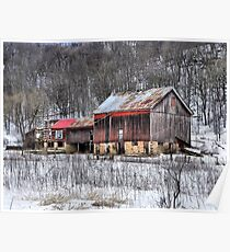 The Rustic Charm of an Old Winter's Barn Poster