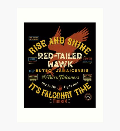 Great Falconer's Red-Tailed Hawk Falconry Supplies Shirts and Gifts Art Print