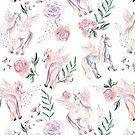 Watercolor pattern with flowers and pegasus by Dinkoobraz