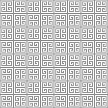 Greek Key pattern - Greek fret design, gray, white by ohaniki
