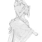 Drawing of lady reading statue. by Astal2
