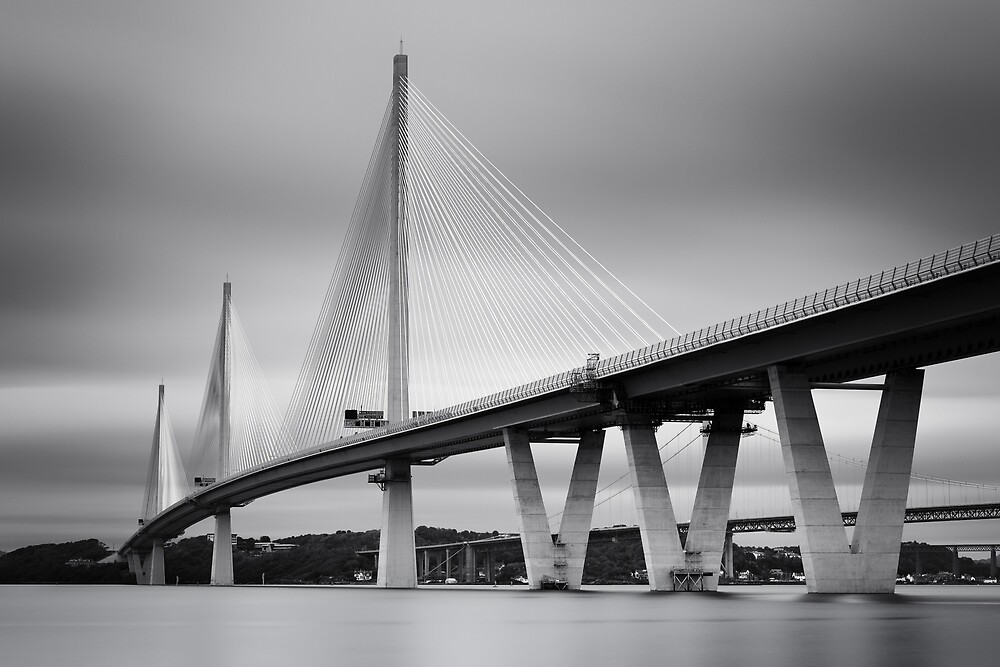 Queensferry Crossing Bridge mono  by Grant Glendinning
