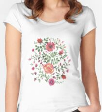 watercolor roses Women's Fitted Scoop T-Shirt