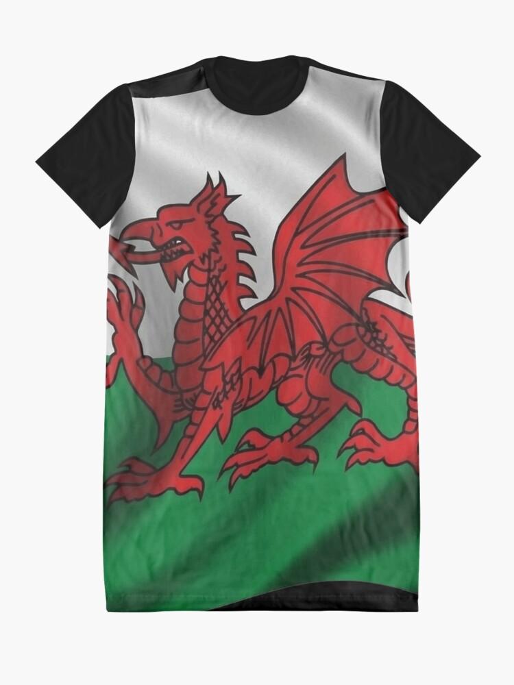 Alternate view of Y Ddraig Goch Welsh Flag Rugby Union  Graphic T-Shirt Dress