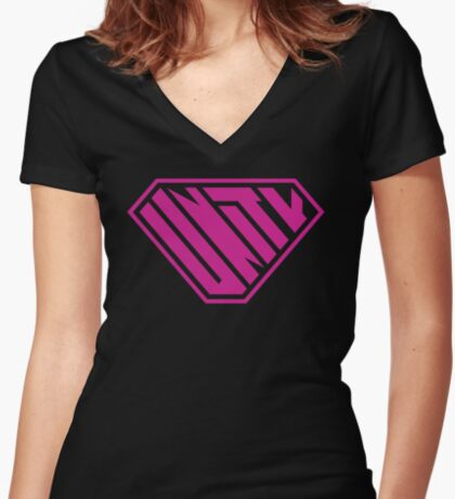 Unity SuperEmpowered (Pink) Fitted V-Neck T-Shirt
