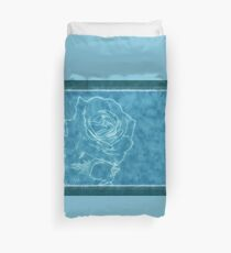 *Pink Roses in Anzures 1 Outlined Blue* Duvet Cover