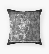 Pink Roses in Anzures 1 Outlined Black Throw Pillow