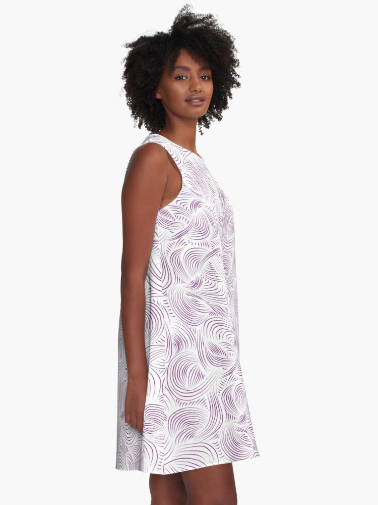 Alternate view of airy clouds of purple dreams A-Line Dress