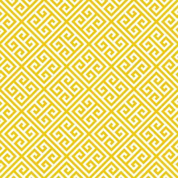 yellow white pattern - Greek Key pattern -  Greek fret design  by ohaniki