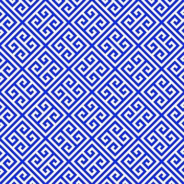 blue white pattern, Greek Key pattern -  Greek fret design  by ohaniki