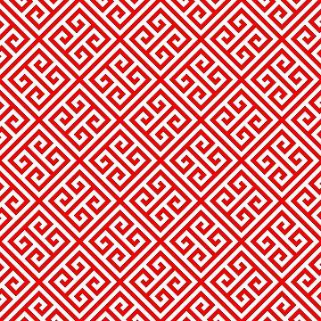 red, white pattern, Greek Key pattern -  Greek fret design  by ohaniki