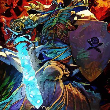 Colorful Skull Knight by hustlart