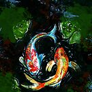 Yin Yang Koi Fish painting by A little more Whirl