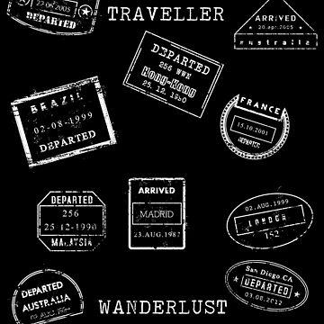 Travel Wanderlust-Passport Stamps by broadmeadow