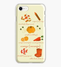 Colors: orange (Los colores: naranja) iPhone Case/Skin