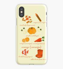 Colors: orange (Los colores: naranja) iPhone Case/Skin