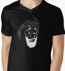 Camouflage and organic shapes, combined to a face with undercut and beard Men's V-Neck T-Shirt