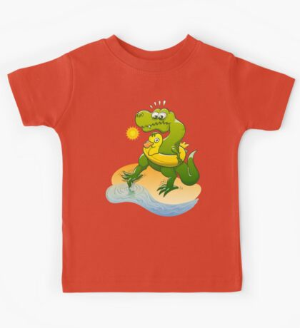 Tyrannosaurus Rex Dipping a Toe in Water Kids Clothes