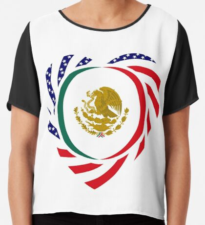 Mexican American Multinational Patriot Flag Series (Heart) Chiffon Top