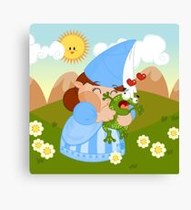 kissing the enchanted frog Canvas Print