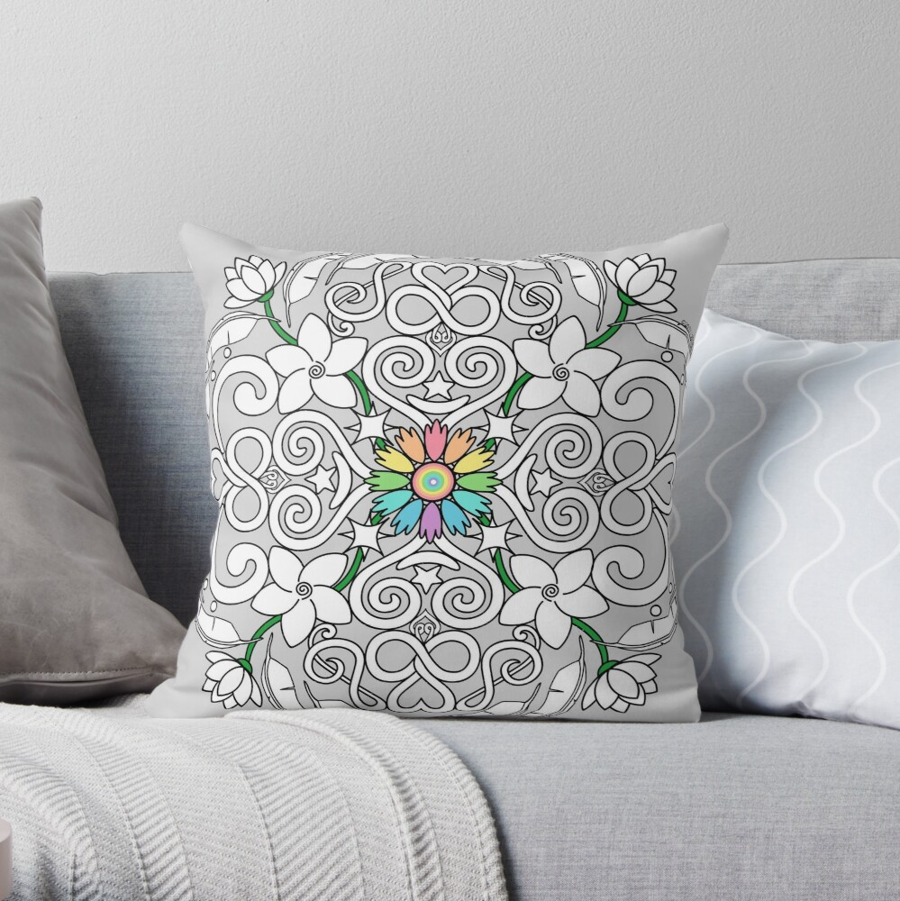 Satya Prema Mandala Throw Pillow