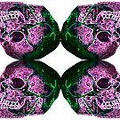 Purple and Green skull quad by SJohnsonartist