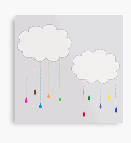 Rainbow Colored Rain and Clouds Metal Print