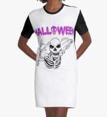 Halloween Creepy Skeleton Holiday T shirt Graphic T-Shirt Dress