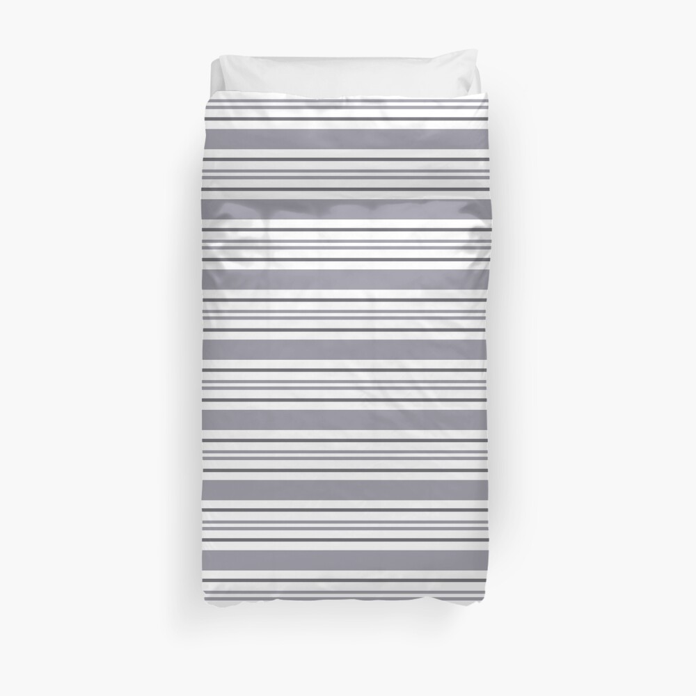 Pantone Lilac Gray & White Thick and Thin Horizontal Lines Bold Stripe Pattern Duvet Cover