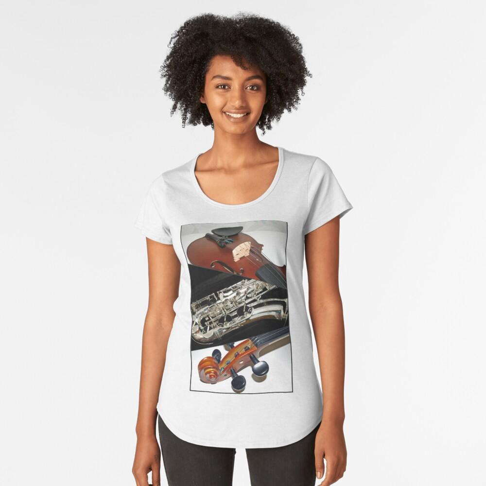 Violin and Saxophone Collage Premium Rundhals-Shirt