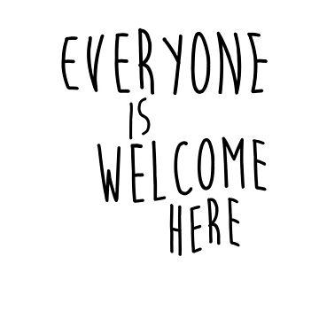 Todos son bienvenidos aquí almohada de AmandaEliz