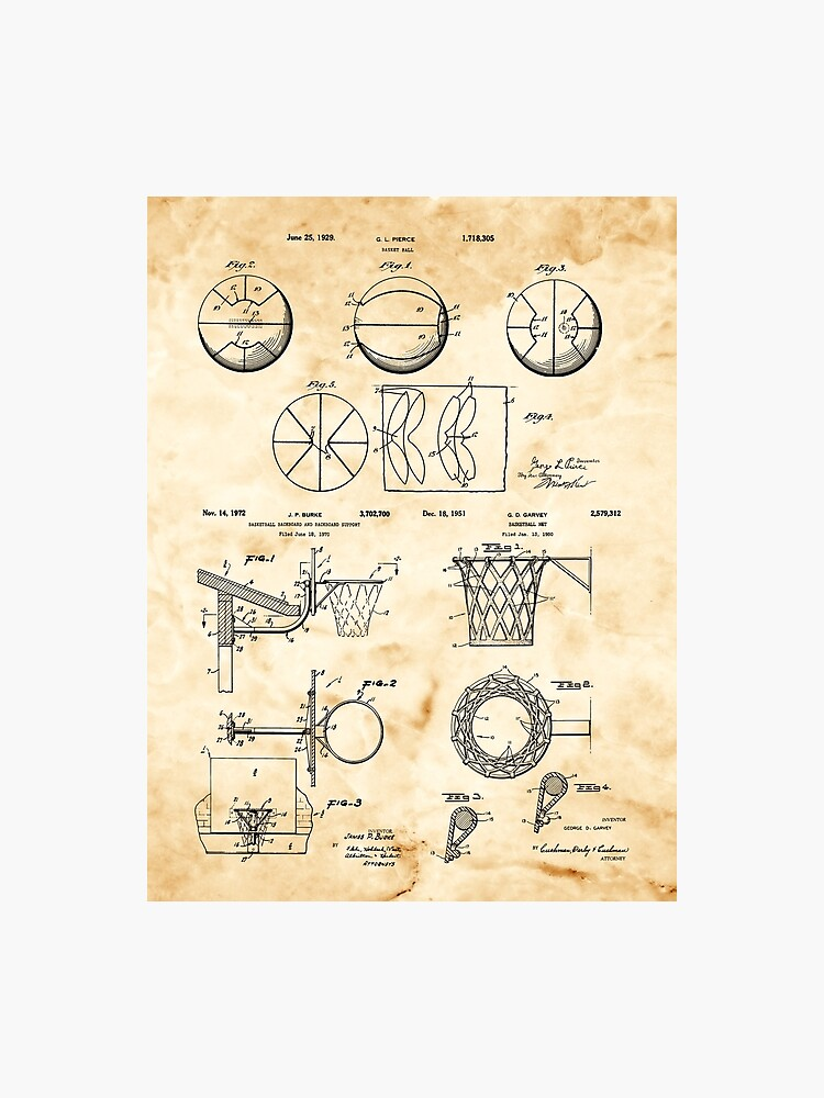 Basketball Lover Gift - Vintage Patent Prints | Photographic Print