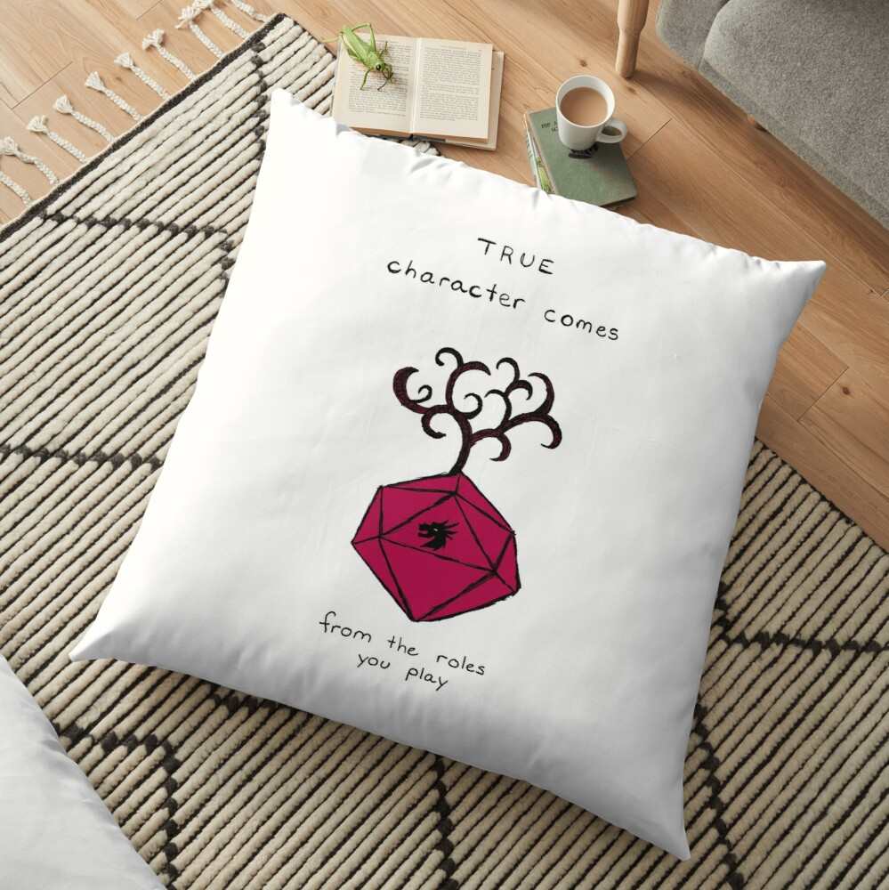 D&D Quote with D20  Floor Pillow