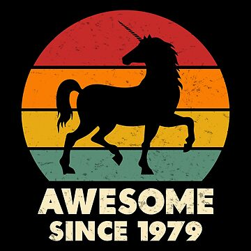 Vintage Unicorn Awesome Since 1979 40th Birthday 40 Years Old by SpecialtyGifts