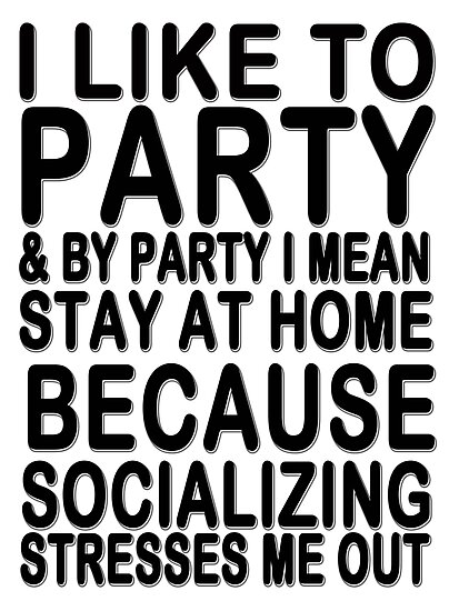 I like to party & by party I mean stay at home because socializing stresses me out by masonsummer