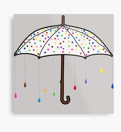 Colorful Rain Umbrella Metal Print