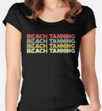 vintage beach tanning - retro beach tanning Women's Fitted Scoop T-Shirt