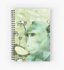 Monkey wild animals in jungle mixed media outside art analog photo drawing painting  Spiral Notebook