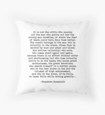 Man In The Arena Theodore Roosevelt Quote Throw Pillow
