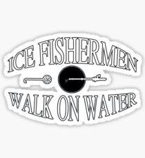 Ice fishermen walk on water Sticker