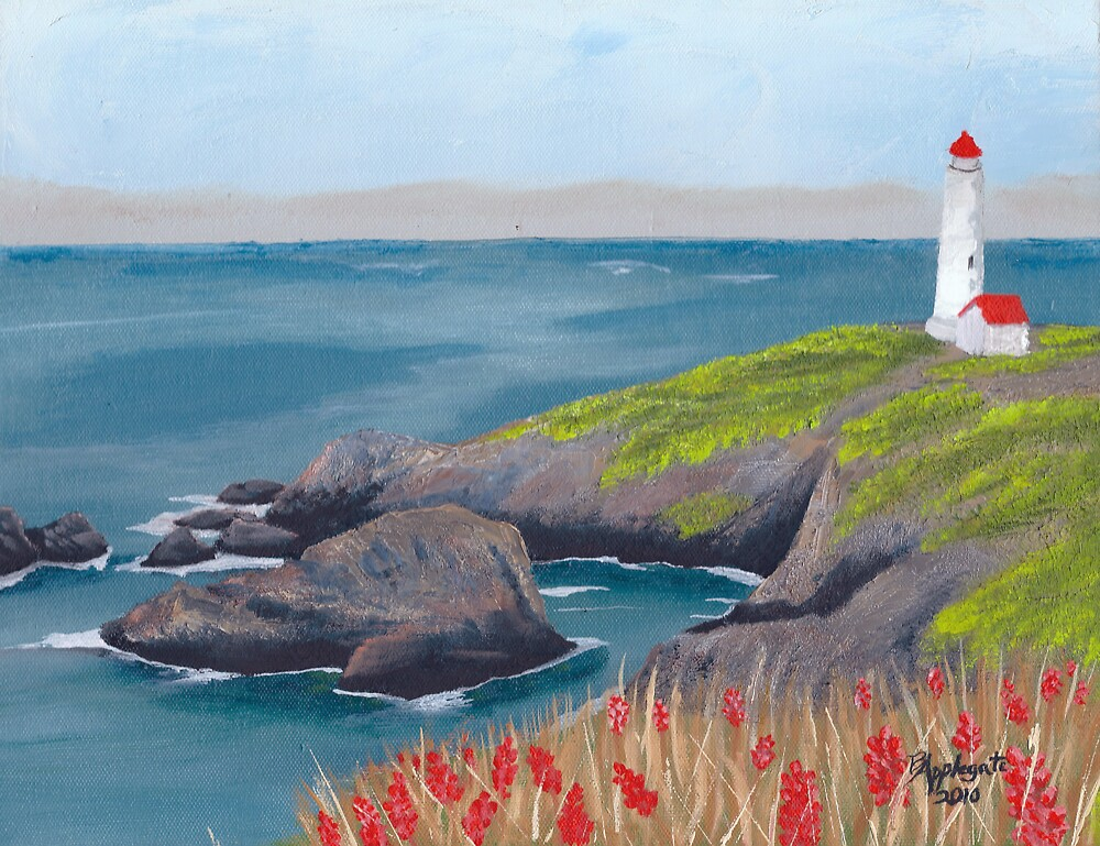 Lighthouse Waiting Seascape Oil Painting By Barbara