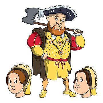 King Henry VIII - Naughty King Henry fun cartoon design by StedeBonnet