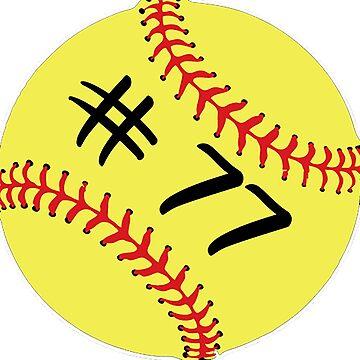 Softball Player Jersey No 77 Back Number #77 Ball Sport Sticker Gift by theshirtinator