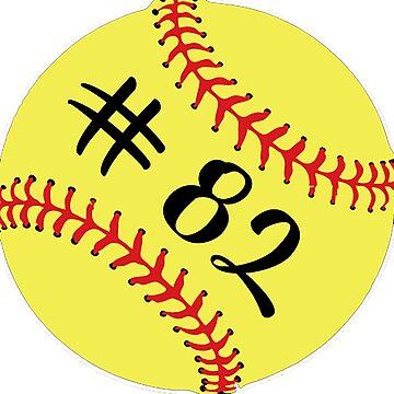 Softball Player Jersey No 82 Back Number #82 Ball Sport Sticker Gift by theshirtinator