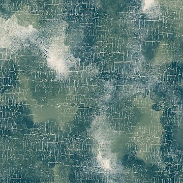 Abstract Grunge Art in Teal and Olive Green by MelFischer
