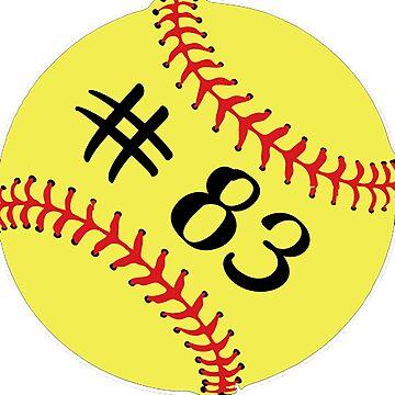 Softball Player Jersey No 83 Back Number #83 Ball Sport Sticker Gift by theshirtinator