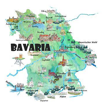 Bavaria, Germany, Illustrated Travel Poster Card by artshop77