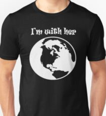 I'm With Her Planet Earth Globe (white) Slim Fit T-Shirt
